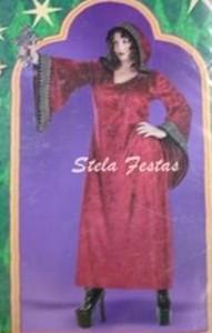 ALUGUEL DE FANTASIA ADULTO FEMININO-8052-CAMPONESA FEITICEIRA BURGUNDY-STELA FESTAS