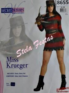 ALUGUEL DE FANTASIA ADULTO FEMININO-8655-MISS KRUEGER-STELA FESTAS